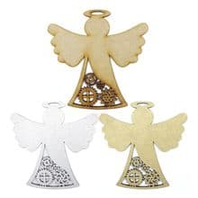 Steampunk Angel topper laser cut from 3mm MDF also in silver or gold painted MDF